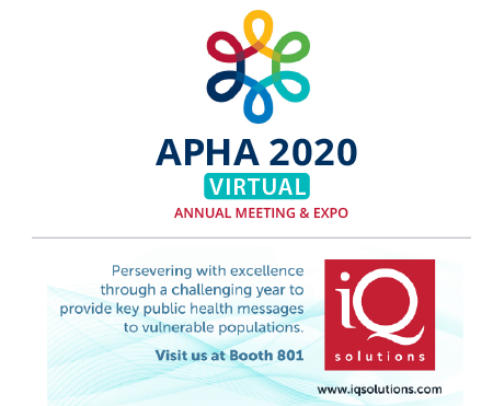 APHA's 2020 VIRTUAL Annual Meeting and Expo (Oct. 24 - 28)